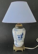 ANCIENNE LAMPE EN PORCELAINE BLEU ET BLANC BASE EN BRONZE ANTIQUE FRENCH LAMP