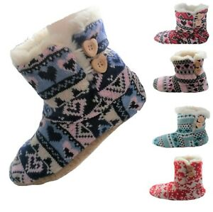 Ladies Slipper Boots Womens Knitted Slipper Booties Warm Fur Lined Ankle Boots