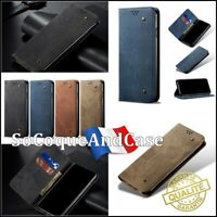 Etui coque housse Cloth Jean Cuir PU Leather wallet case cover Huawei Y5p, Y6p