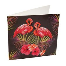 Crystal Art DIY Greeting Card kit, pink Flamingos design, craft DIY card kit