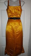 L.A.M.B GWEN STEFANI DEEP YELLOW SILK SATIN PLEATED COCKTAIL DRESS  2 XS RARE