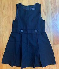 Lands' end girls navy blue school uniform jumper dress size 5 pleated - Euc!