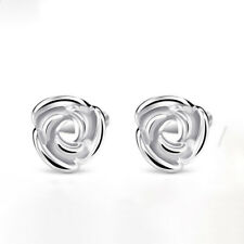 New Real Platinum 950 Earrings Woman's Fashion Lucky Rose Stud Earrings 5 mmW