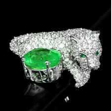 GREEN EMERALD RING TIGER 21.70 CT. SAPPHIRE GARNET 925 STERLING SILVER SZ 7.25