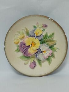 Bossons Chalk Ware Wall Plate Plaque Pansies Flowers Floral Lavender Yellow