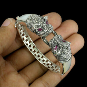 Bangle Pink Ruby Mother of Pearl Marcasite Tiger Design Sterling Silver 6 1/2 In