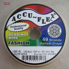 100' beading wire Accuflex gold steel 49 strand .024 inch