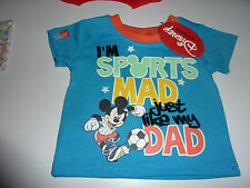 DISNEY Mickey Mouse I'm Sports Mad Just Like My Dad T-Shirt NWT