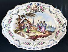 Ancien énorme plat XIXème en faience de Lille ou Langeais signé Lille 1767