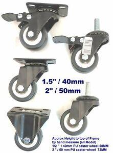 """Heavy Duty PU Castor Wheel Trolley Caster 1.5"""" 2"""" 3"""" swivel fix brake plate bolt"""