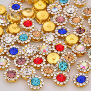 50 Gold Bling Crystal Rhinestone Pearl Flatback Buttons 9mm 11mm Wedding Crafts