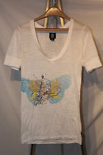 Modern Cowgirl L Cotton Blend Knit Top Soft Guitar & Wings Silver White Blue