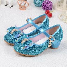 Girls Mary Jane Glitter Shoes Low Heel Princess Flower Wedding Party Dress Pump
