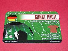 RARE FOOTBALL CARD FOOT2PASS 2010-2011 FUSSBALL FC SANKT-PAULI BUNDESLIGA