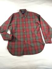 Vtg Pendleton Sz L Usa Red Green Plaid Long Sleeve Virgin Wool Shirt Very Soft