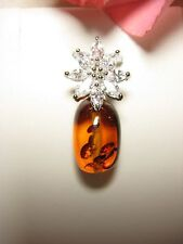 Pendant 100% Amber 11x17 mm White Gold Gold Plated Zirconia