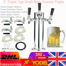 More details for  silver triple tap 3 inch stainless steel draft beer tower triple faucet 360mm