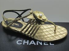 191bbc43476  900 Chanel Gold Leather Pearl Camellia CC Logo Thong Sandals Flats 37 New