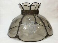 "Antique Victorian Bronzed Metal 6 Panel Light Smokey Glass Shade w/Rose, 18"" Dia"
