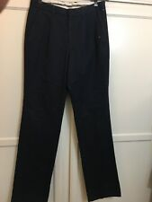 BARBOUR NAVY BLUE UNFINISHED SINGLE PLEAT CHINO PANTS Sz. 32