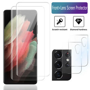 TAURI 2 Pack Flexible TPU Film Screen Protector 2 Pack Tempered Glass Camera Lens Protector for Samsung Galaxy S21 5G 6.2 inch HD-Clear Scratch-resistant Bubble Free