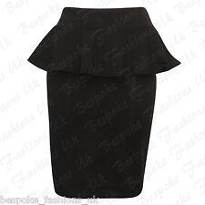 New Womens Ladies Peplum Frill Pencil Bodycon Knee Length Skirt Plus Size 8-22