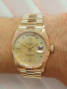 Rolex Day-Date 36mm, 1986, 18ct Yellow Gold, 18023, Factory Diamonds, Mint (154)