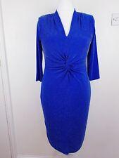 Gerard Ladies Blue Bodycon Dress Size 14 Stretch Metallic Shimmer Twist Knot