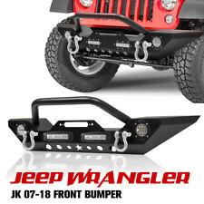 Front Bumper with Built-in LED Lights D Ring Shackles For Jeep Wrangler 07-18 JK