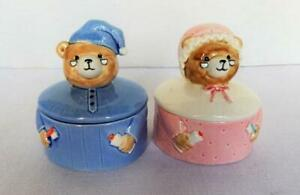 Set of 2 Vintage Norcrest Pink Mama Bear & Blue Papa Bear Ceramic Trinket Boxes