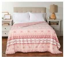 Berkshire Twin Printed Sherpa Blanket with Velvet Soft Reverse Blush,
