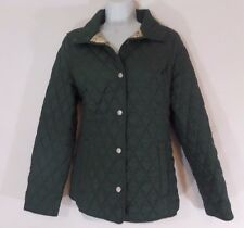 LL Bean Quilted Women's Barn Coat Casual Jacket Olive Green Plaid Size XS