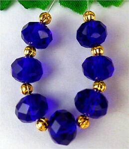 7Pcs 8x6mm Blue Titanium Crystal Height Hole Facet Abacus Bead AP52125