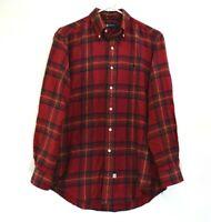 Ralph Lauren Men M Medium Long Sleeve Button Down Casual Plaid Shirt Red Green