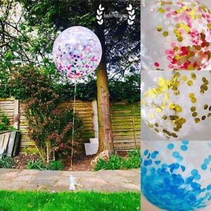 6 Colorful confetti filled Clear Balloons thermocol, foil, tissue paper confetti
