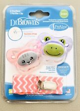 Dr Brown's PreVent Orthodontic Pacifier Set, 0-6 Months, Cat/Frog, BPA Free, NEW