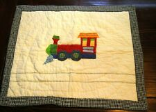 Kids Boy's Train White & Blue Red Green Checked Quilted Standard Pillow Sham