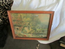 """R. THORNTON VINTAGE FRAMED PRINT  """"COTTAGE BY THE RIVER"""" LEWIS F DOW ST PAUL,-"""