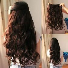 original clip in curly/wavy hair extensions/synthetic 1 pcs clip on - Dark Brown