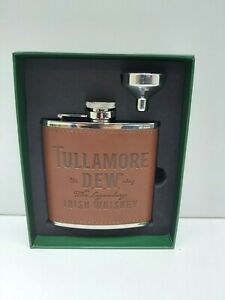 Tulamore Dew Irish Whisky Advertising Collectable Brown Stainless Steel Hip Flas
