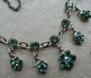 vintage style green rhinestone daisy flower drop chain necklace silver tone -H8