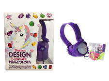 CHILDRENS GIRLS UNICORN DESIGN DECORATE YOUR OWN STEREO HEADPHONES EARPHONES