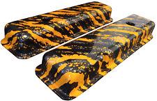 Chevy Small Block Valve Cover Mr Gasket 6850 Hydro Dipped Orange Marble Splash