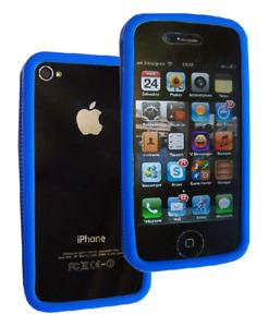 Silikon Umriss Stoßstange Blau ~ Apple IPHONE 4/IPHONE 4S