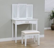 Vanity Sets With Mirror And Bench For Women Girls Teens Kids With Stool Drawer