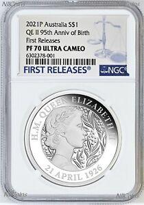 2021 QUEEN ELIZABETH 95th Birthday Silver $1 Proof coin NGC PF70 UC FR .9999