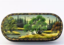 Boîte à bijoux collection décor 16x7 miniature laquée FEDOSKINO peint main signé