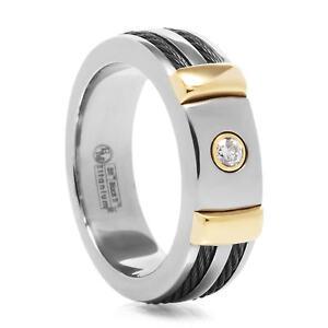Edward Mirell 7mm Titanium 18k Gold Black Cable Band Ring Round Diamond .10 TCW
