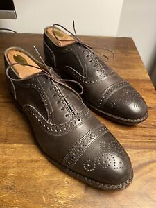 "Allen Edmonds ""Strand"" Leather Cap-Toe Oxfords 9.5 D Carbon Dark Grey"