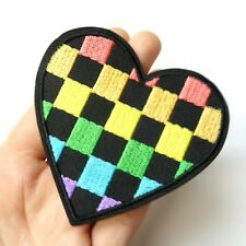 Checkered Rainbow Heart Patch Iron-On/Sew On Embroidered Applique, LGBT Pride